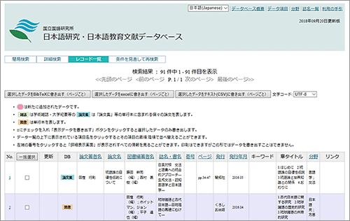 日本語研究・日本語教育文献データベース