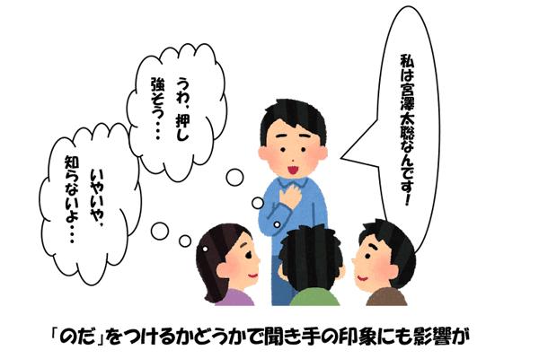 「わたしは宮崎太聡明なんです!」「うわ,押し強そう」「いやいや,知らないよ」「のだ」をつけるかどうかで聞き手の印象にも影響が
