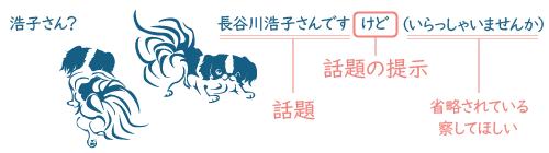 二匹の犬の会話。浩子さん?長谷川浩子さんですけど。この「けど」は話題の提示。続く「いらっしゃいませんか」が省略されている。察してほしい意図がある。