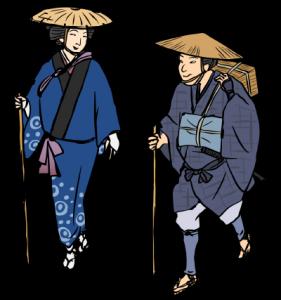 旅装束の男女(江戸時代)