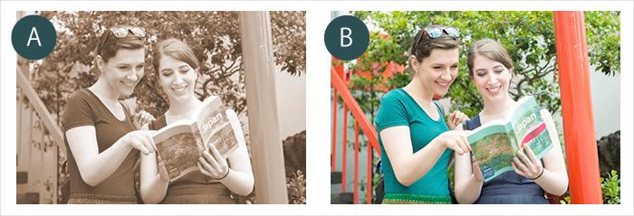 モノクロとカラー写真の比較(ガイドブックを見る外国人観光客)
