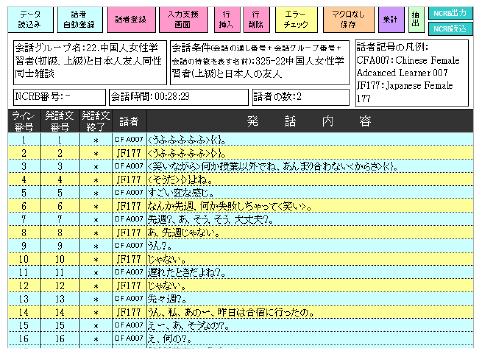 『BTSJコーパス』会話データ例