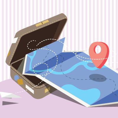 旅行かばんと地図