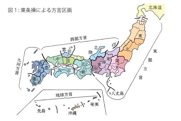図1 東条操による方言区画